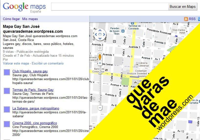 Mapa Gay San José, Costa Rica. Enclace Google Maps